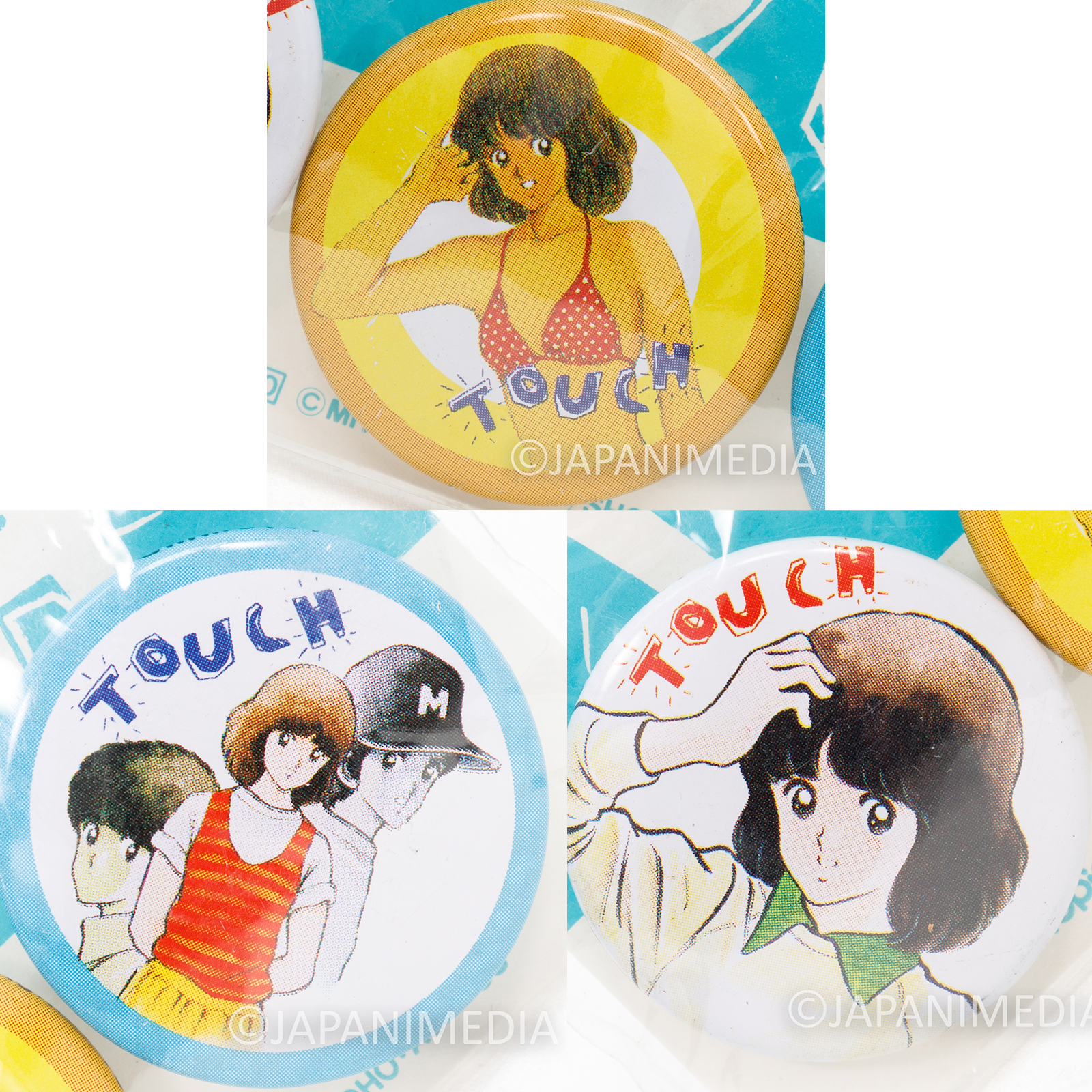 TOUCH Minami Asakura Button Badge Pins 3pc Set Mitsuru Adachi JAPAN ANIME