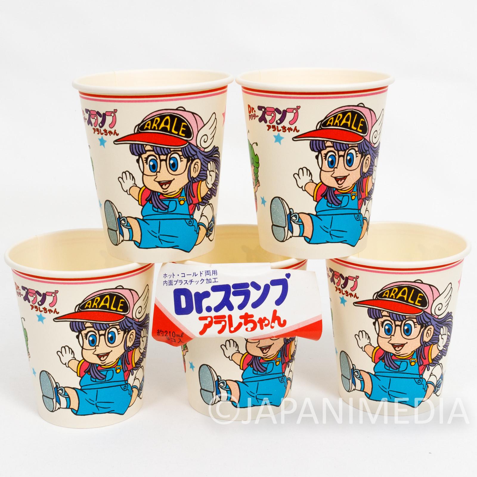Retro RARE! Dr. Slump Arale Chan Paper Cup 5pc Set JAPAN ANIME