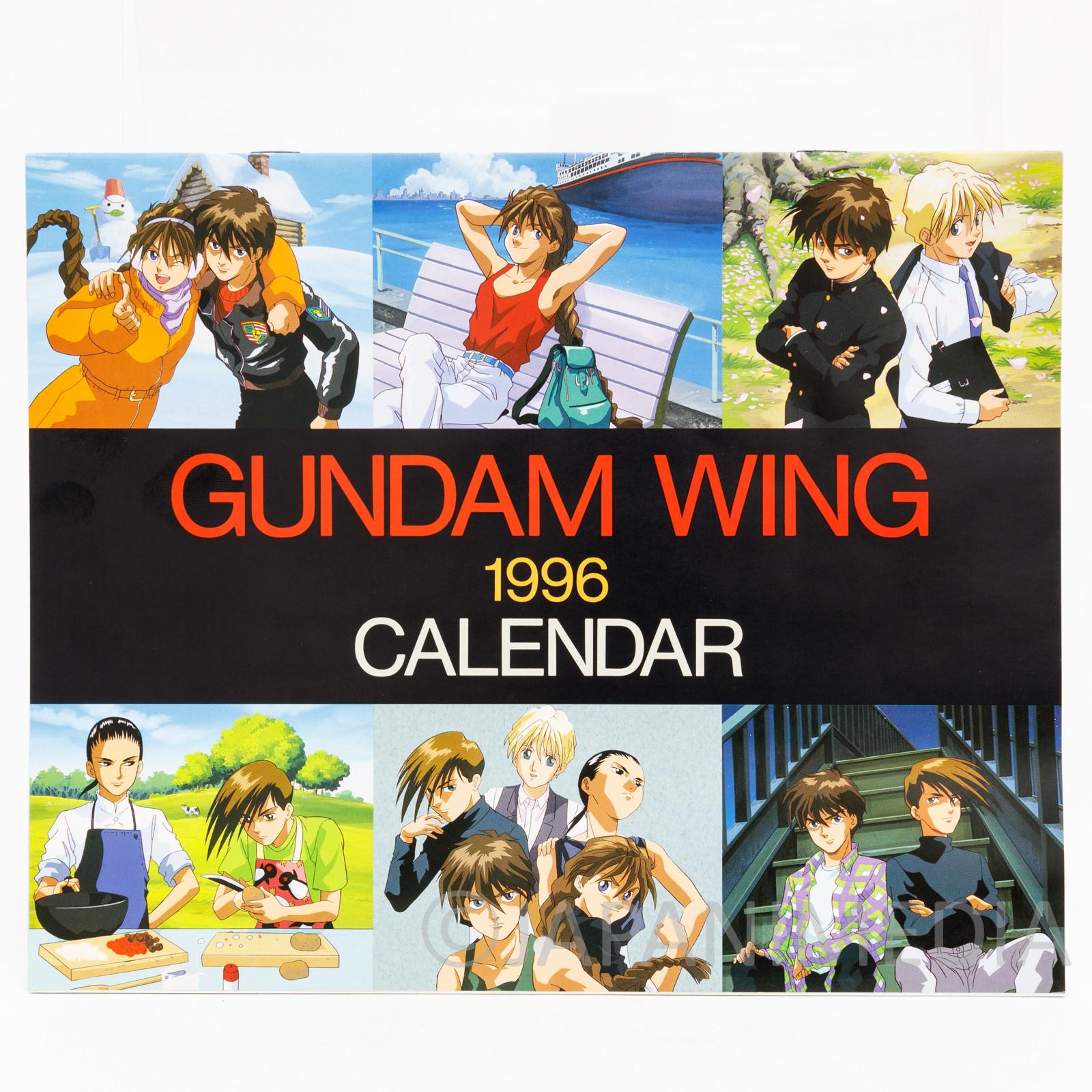 Gundam W Wing Poster Calendar 1996 Heero Duo Quatre Trowa Wufei