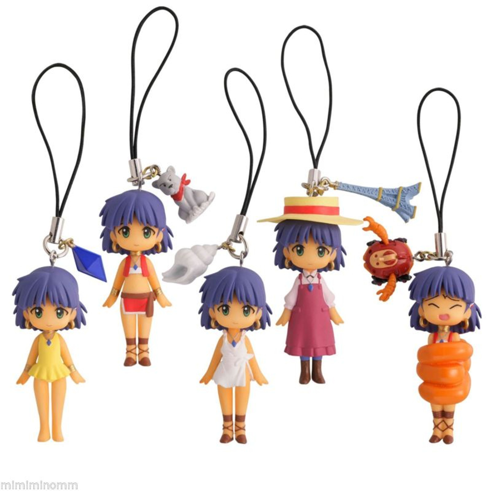 Set of 5 Nadia The Secret of Blue Water Capsule Omikuji Figure Strap JAPAN ANIME