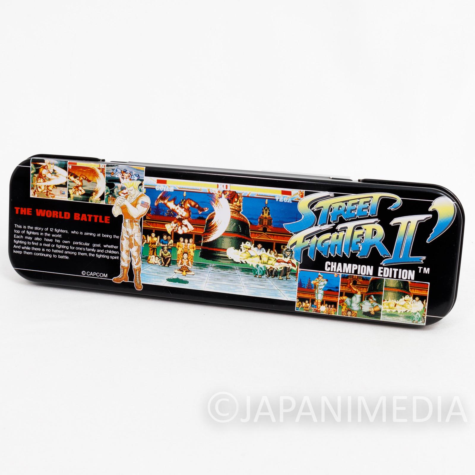 Retro RARE Street Fighter 2 dash. Guile Can Pen Case Capcom JAPAN