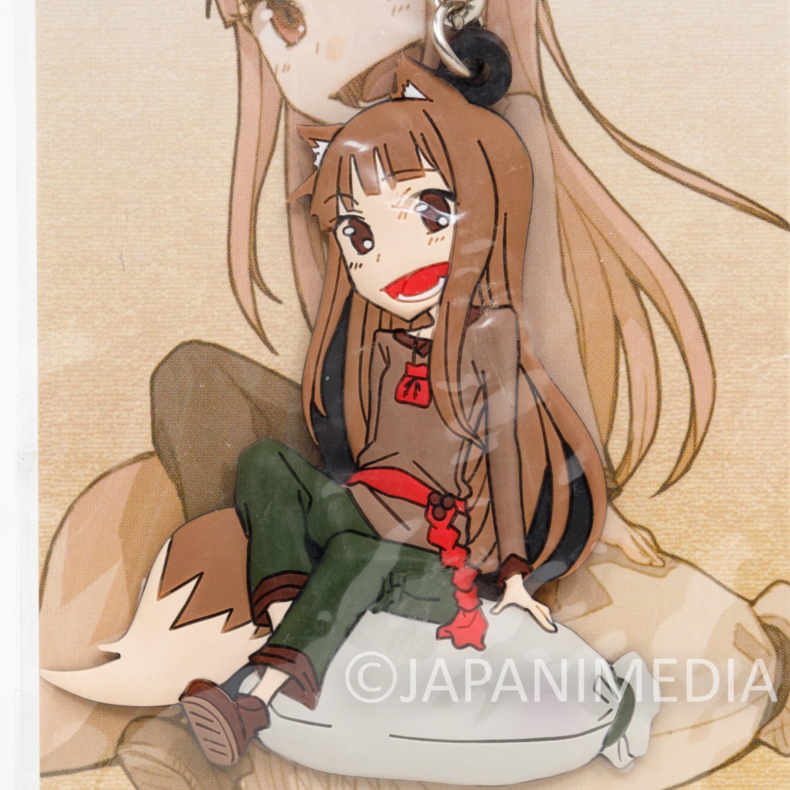 Retro RARE! Spice and Wolf Holo Rubber Mascot Keychain Okami to Koushinryou