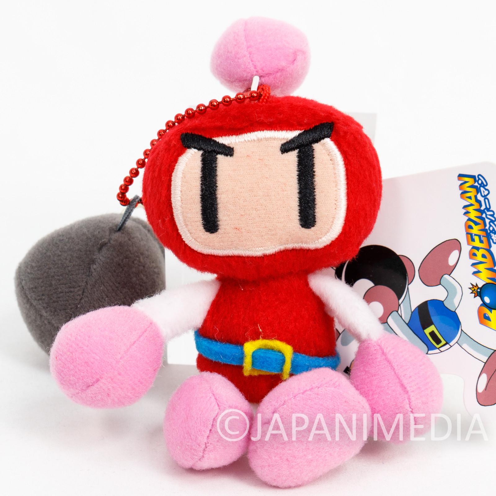 Bomberman Red Plush Doll Ballchain Famicom Hudson Nintendo JAPAN NES