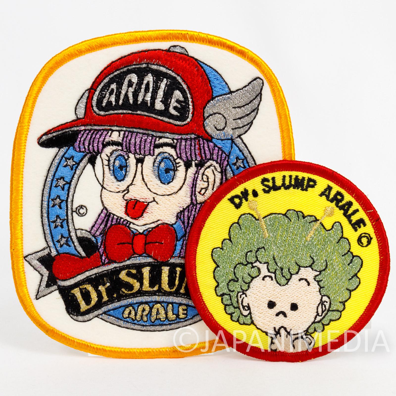 Retro Dr. Slump Arale chan Gatchan Wappen Emblem Badge 2pc Set #1 JAPAN ANIME