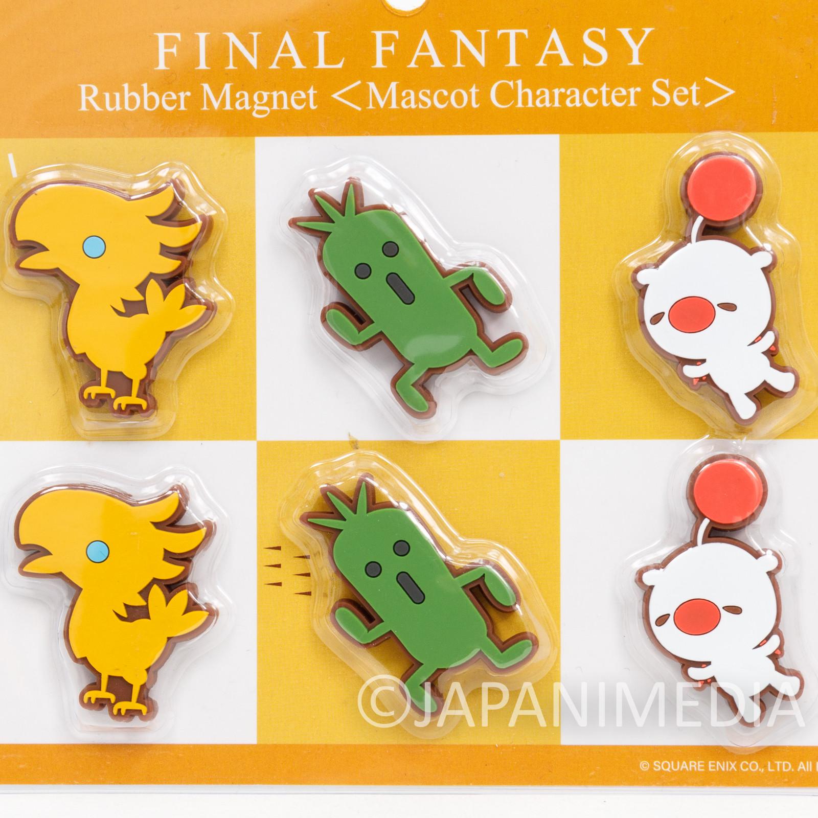 Final Fantasy Chocobo Cactuar Moogle Rubber Mascot Magnet Set Square Enix JAPAN