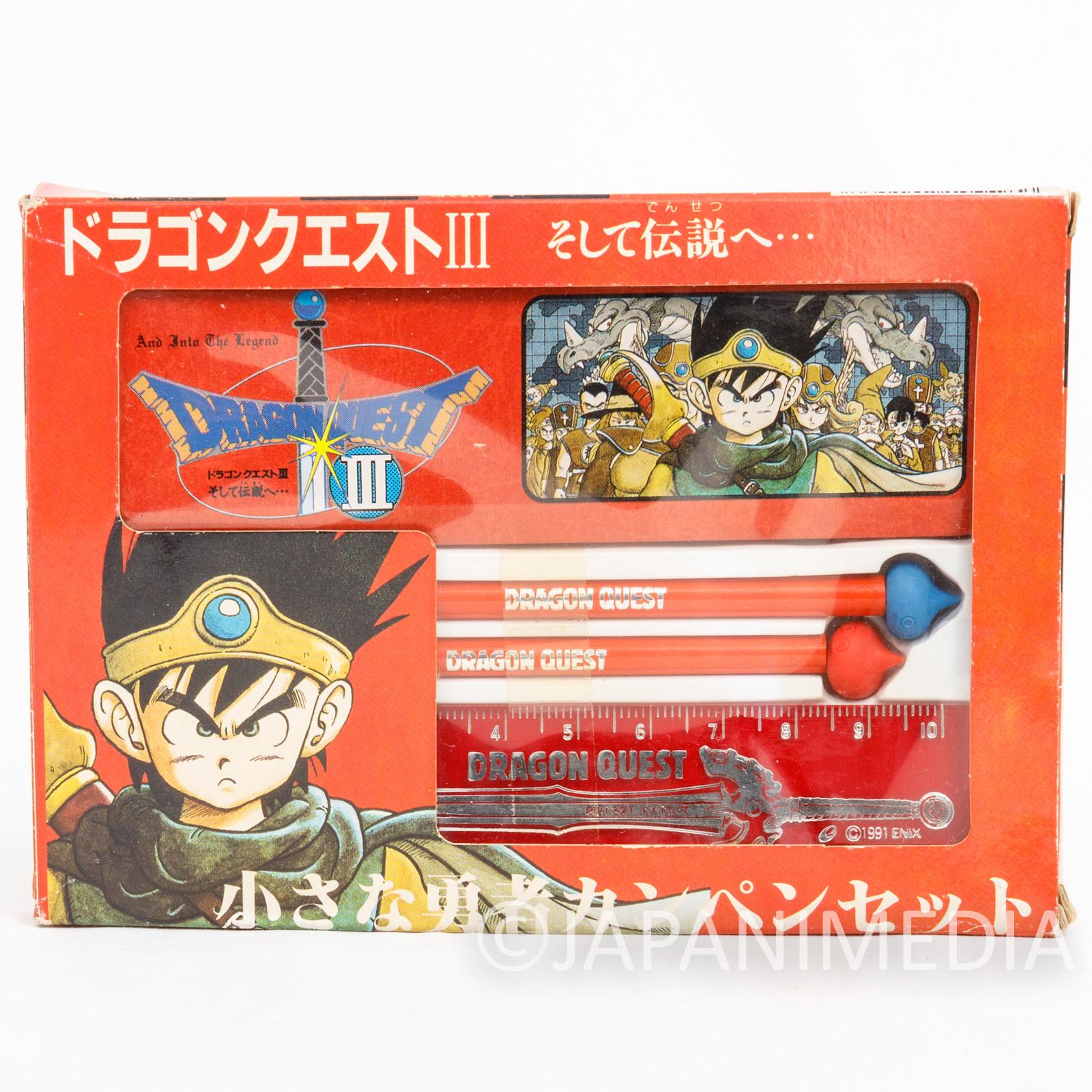 Dragon Quest 3 Mini Stationery set Can pen case Pencil Ruler ENIX JAPAN GAME