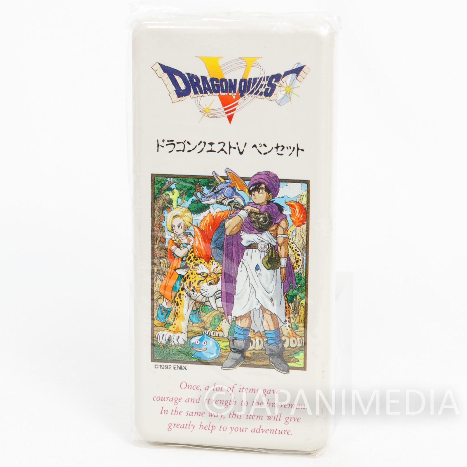 Retro Rare! Dragon Quest V Pens & Pen Case JAPAN WARRIOR TORIYAMA AKIRA