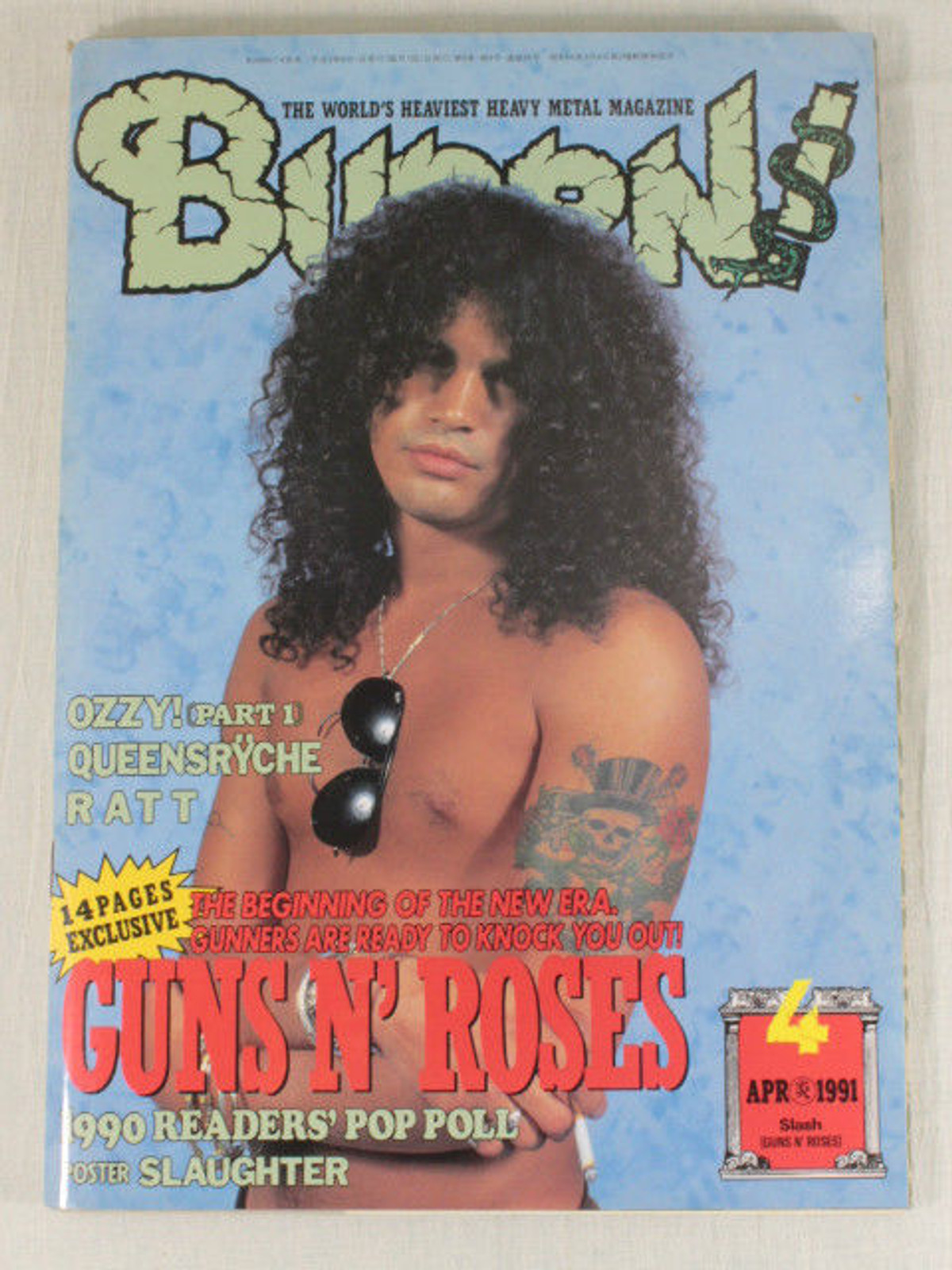 1991/04 BURRN! Japan Rock Magazine GUNS N' ROSES/BLACK CROWS/QUEENSRYCHE/RATT