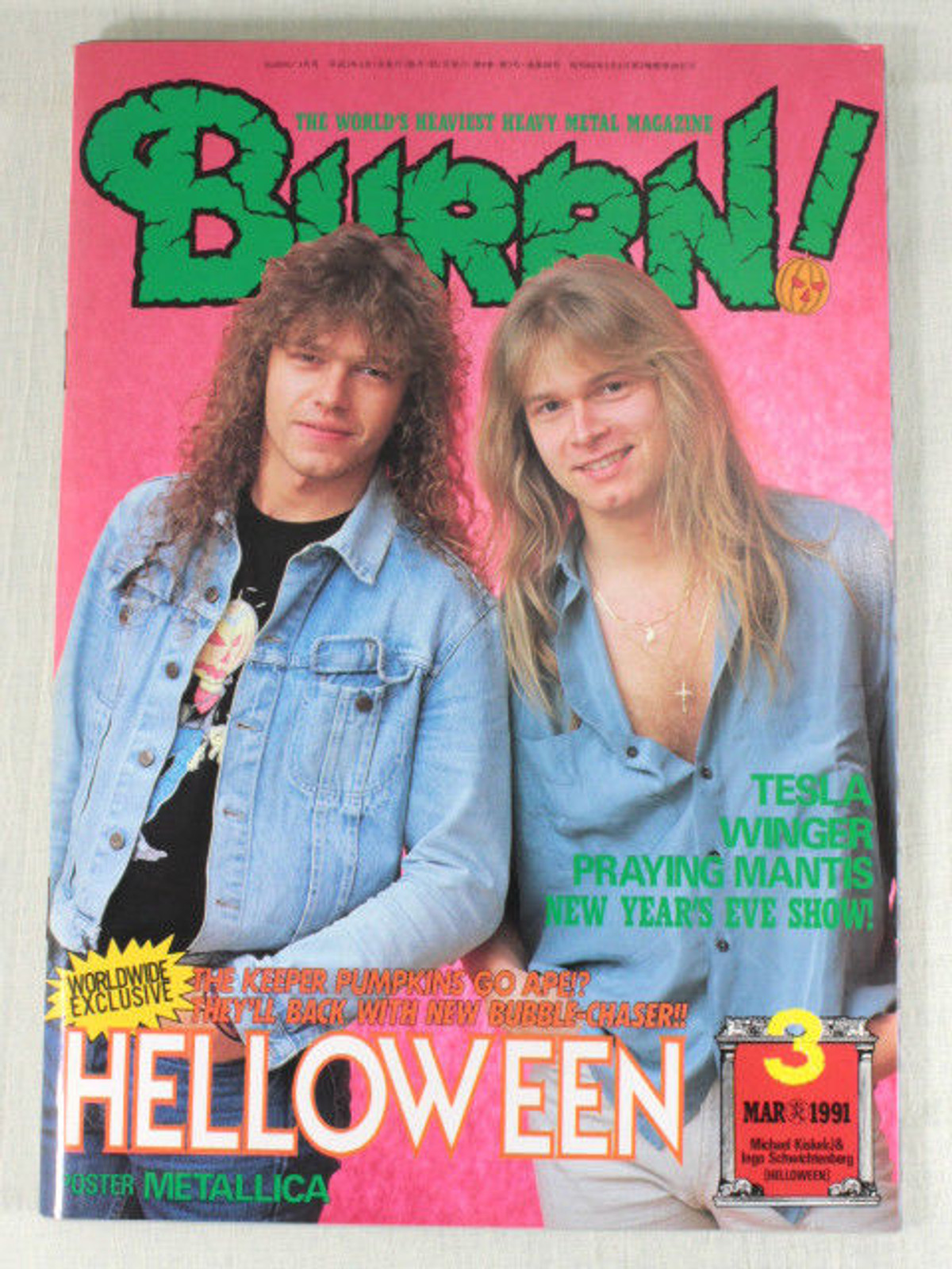 1991/03 BURRN! Japan Rock Magazine HALLOWEEN/TESLA/OVER KILL/WONGER