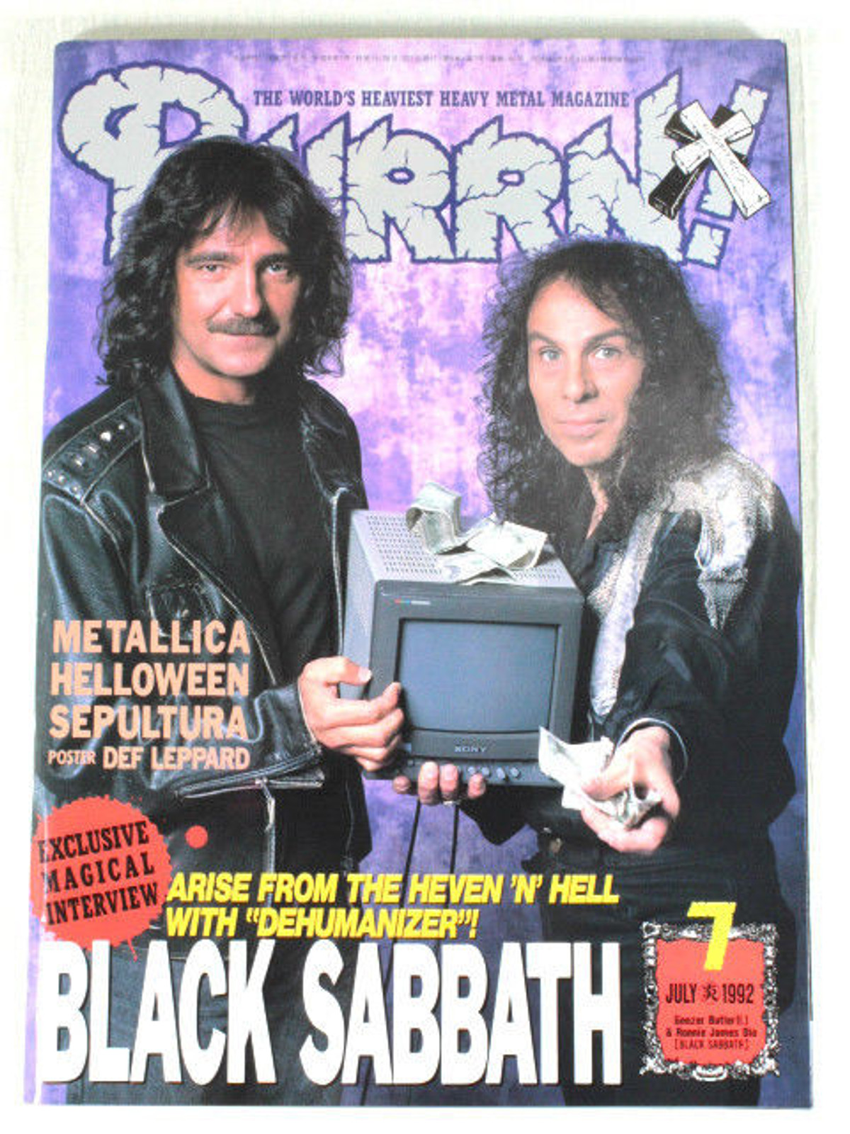 1992/07 BURRN! Japan Rock Magazine BLACK SABBATH/SEPULTULA/EXTREME
