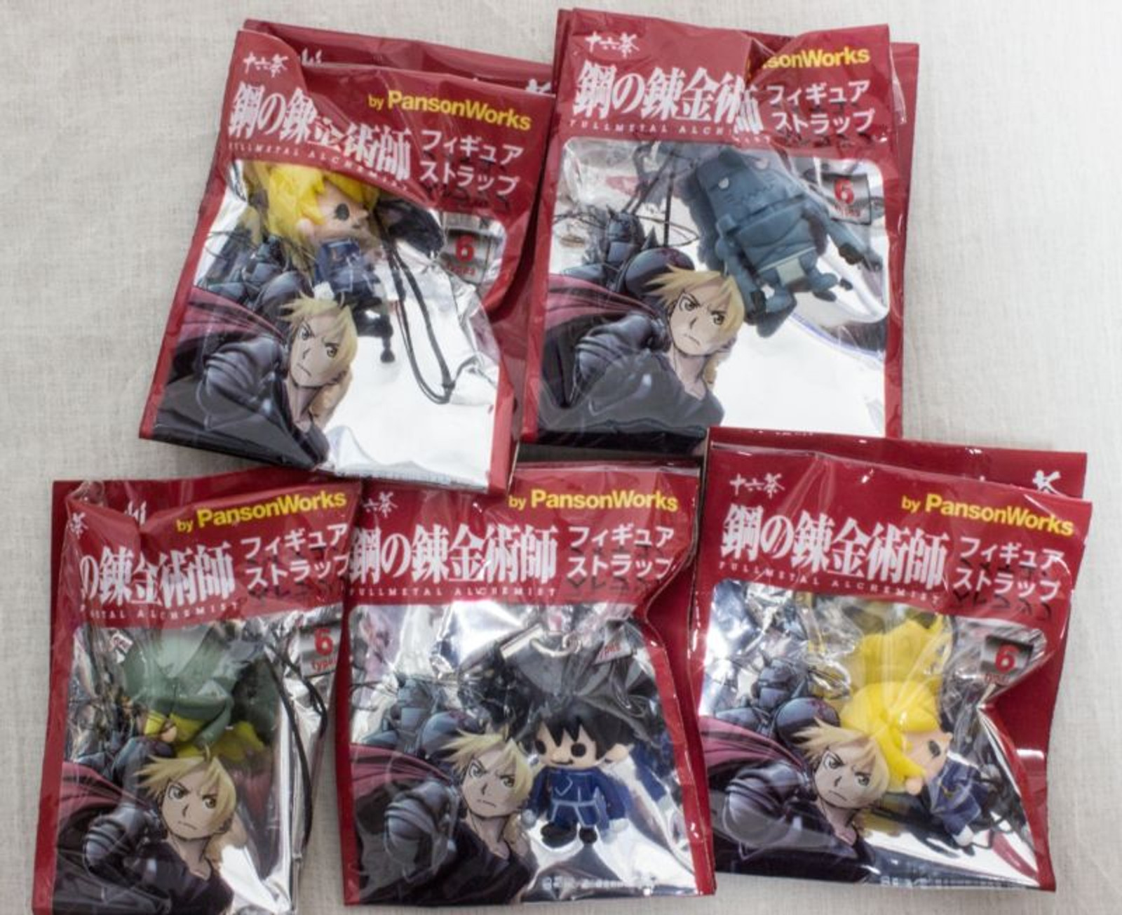 Set of 5  Fullmetal Alchemist Panson Works Figure Mobile Strap JAPAN ANIME