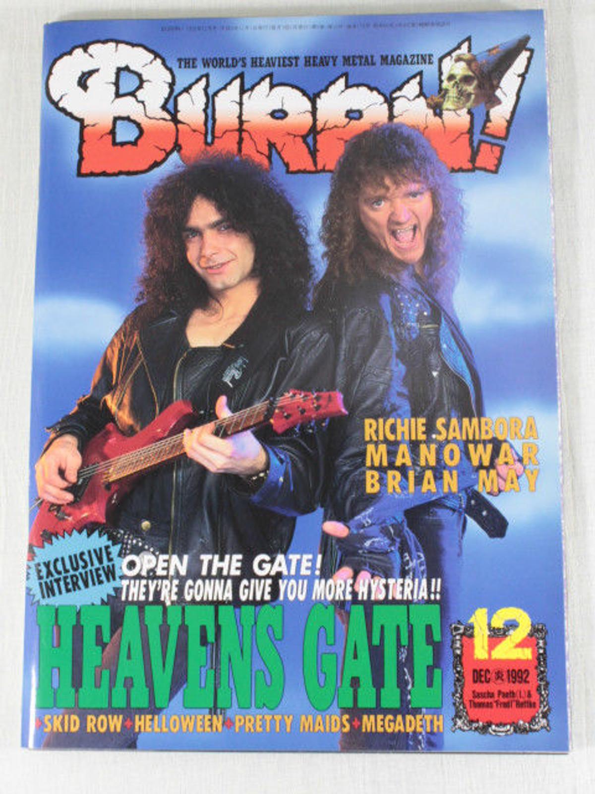 1992/12 BURRN! Japan Rock Magazine HEAVENS GATE/BRIAN MAY/MANOWAR/RICHIR SAMBORA