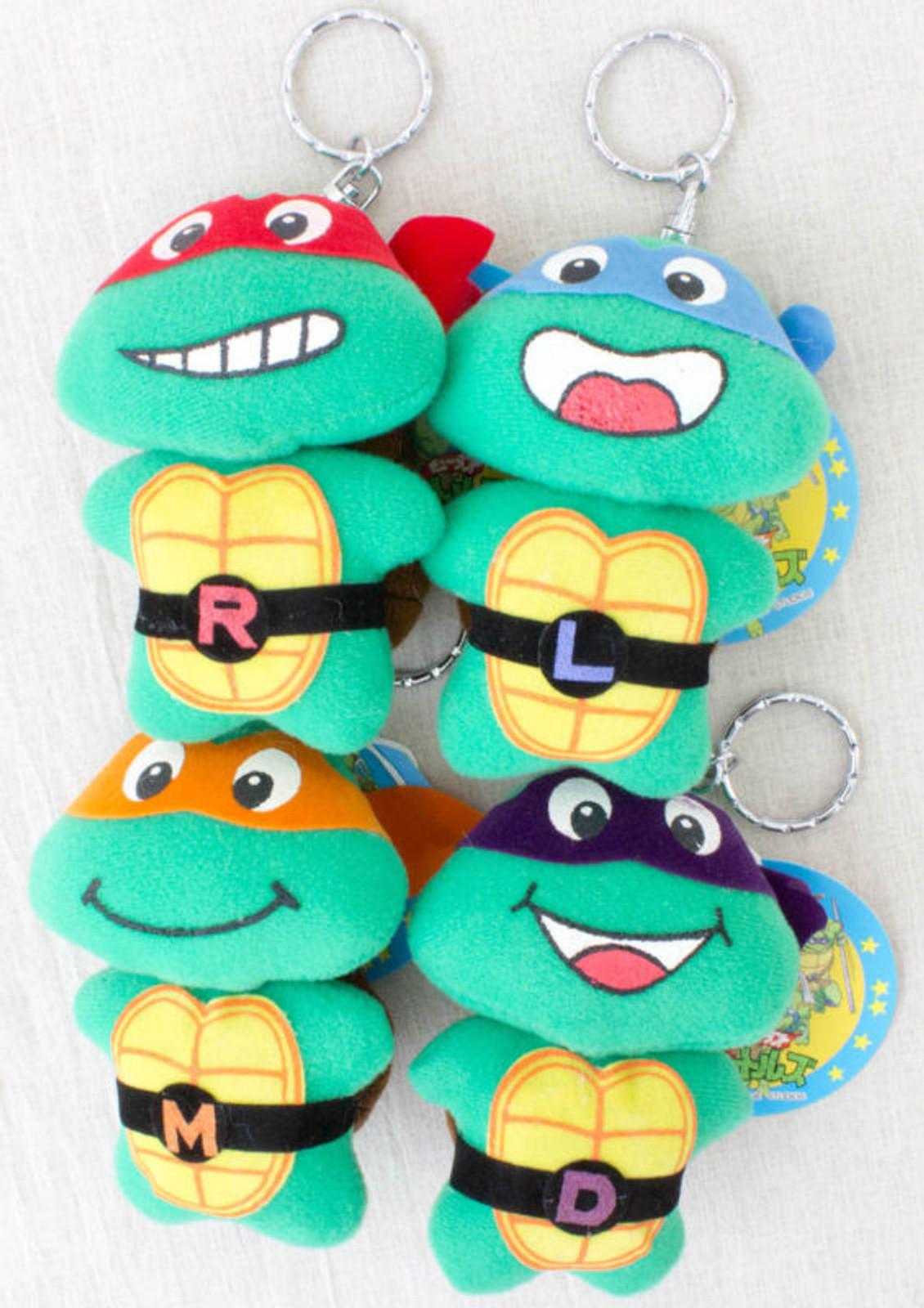 Set of 4 Teenage Mutant Ninja Turtles Mini Plush Doll Figure 1994 JAPAN