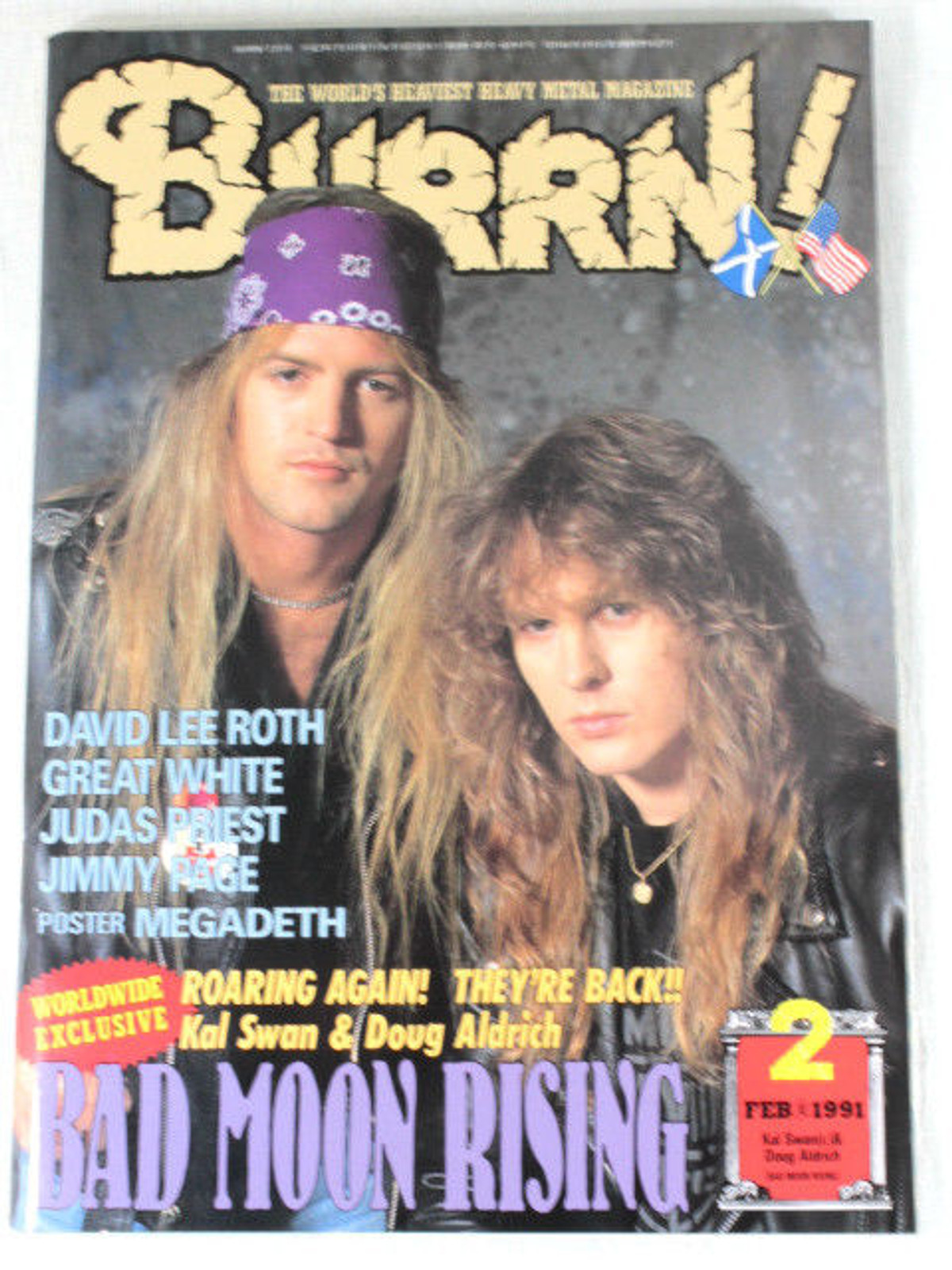 1991/02 BURRN! Japan Rock Magazine BAD MOON RISING/DAVID LEE ROTH/GREAT WHITE