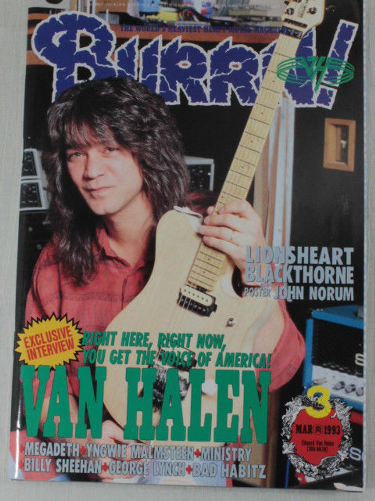 1993/03 BURRN! Japan Rock Magazine VAN HALEN/VINCE NEIL/LIONS HEART/YNGWIE