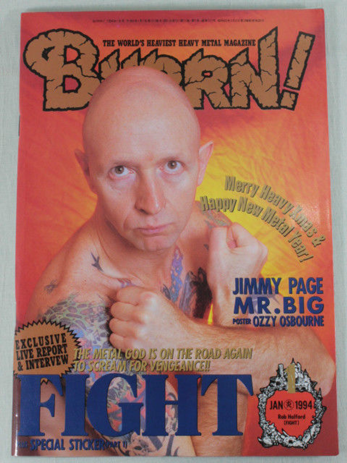 1994/01 BURRN! Japan Rock Magazine FIGHT/JIMMYPAGE/MR.BIG/RUSH/VAIN/W.A.S.P.