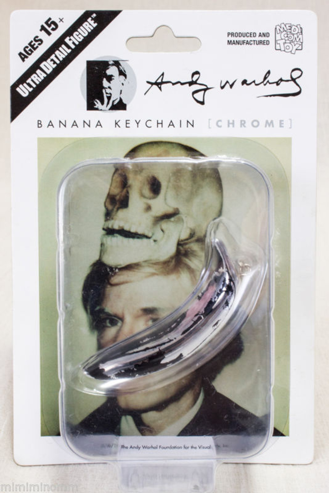 Andy Warhol Banana Keychain Chrome Ver. Ultra Detail Figure Medicom Toy JAPAN