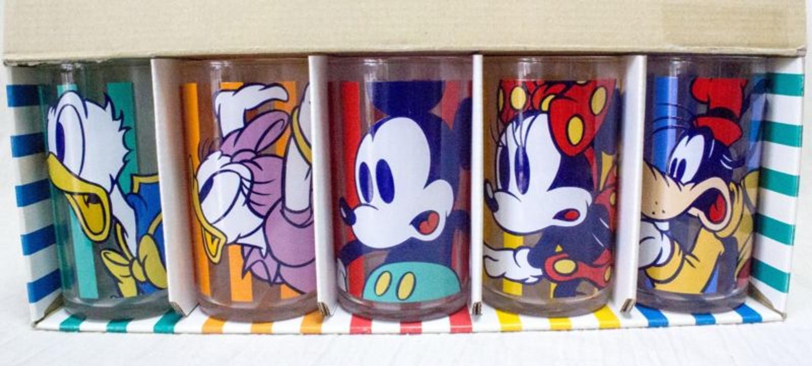 Disney Glass Set of 5 Mickey Minnie Donald Daisy Goofy JAPAN ANIME