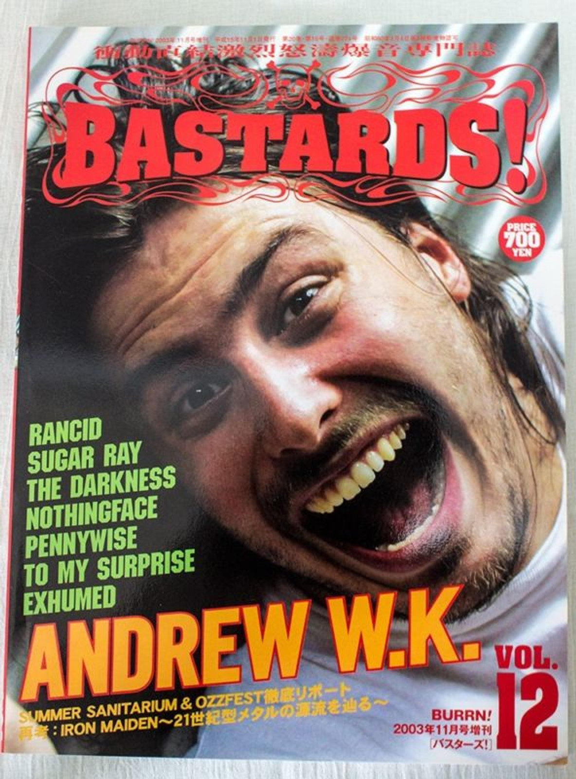 2003 Vol.12 BASTARDS! BURRN! Japan Magazine ANDREW W.K. RANCID/THE DARKNESS