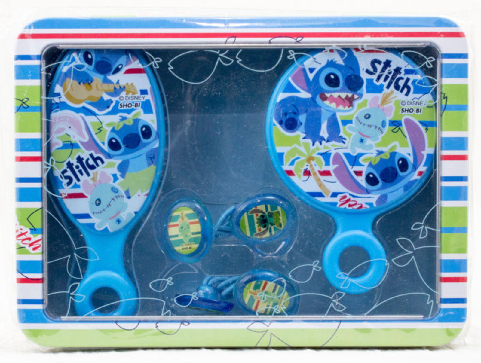 Disney Stitch Toiletries Goods Hairbrush Mirror Hair Elastic Tin Case JAPAN
