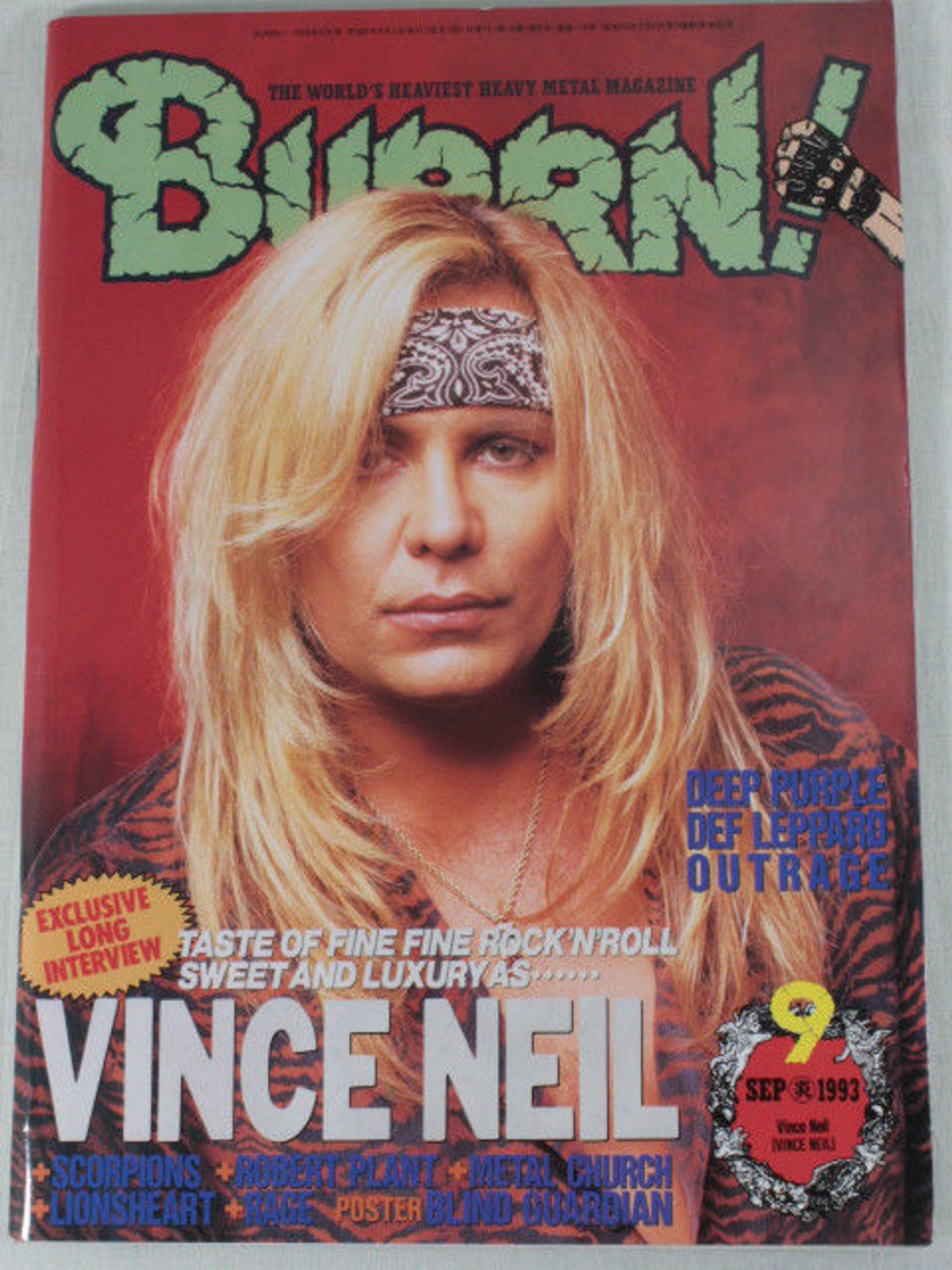 1993/09 BURRN! Japan Rock Magazine VINCE NEIL/SCORPIONS/METAL CHURCH/LIONSHEART
