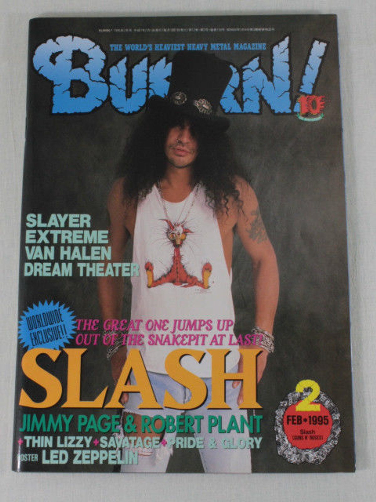 1995/02 BURRN! Japan Rock Magazine SLASH/JIMMY PAGE/VAN HALEN/EXTREME/SLAYER