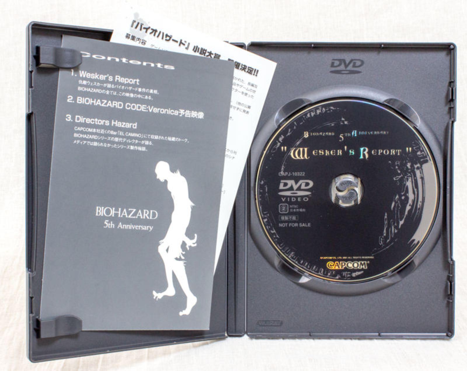 RESIDENT EVIL Biohazard 5th Anniversary Wesker's Report JAPAN DVD 2001