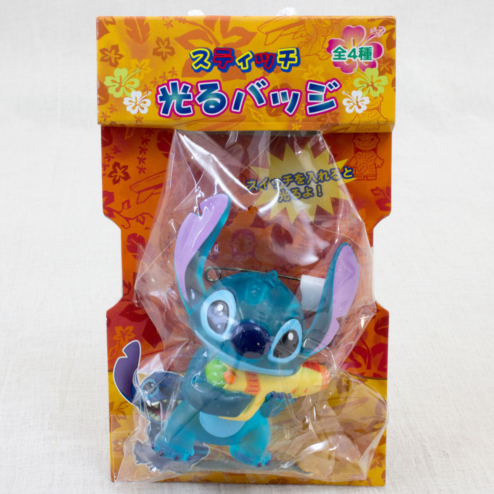 Disney Stitch Mascot Figure Flashing Pins Badge SEGA JAPAN ANIME
