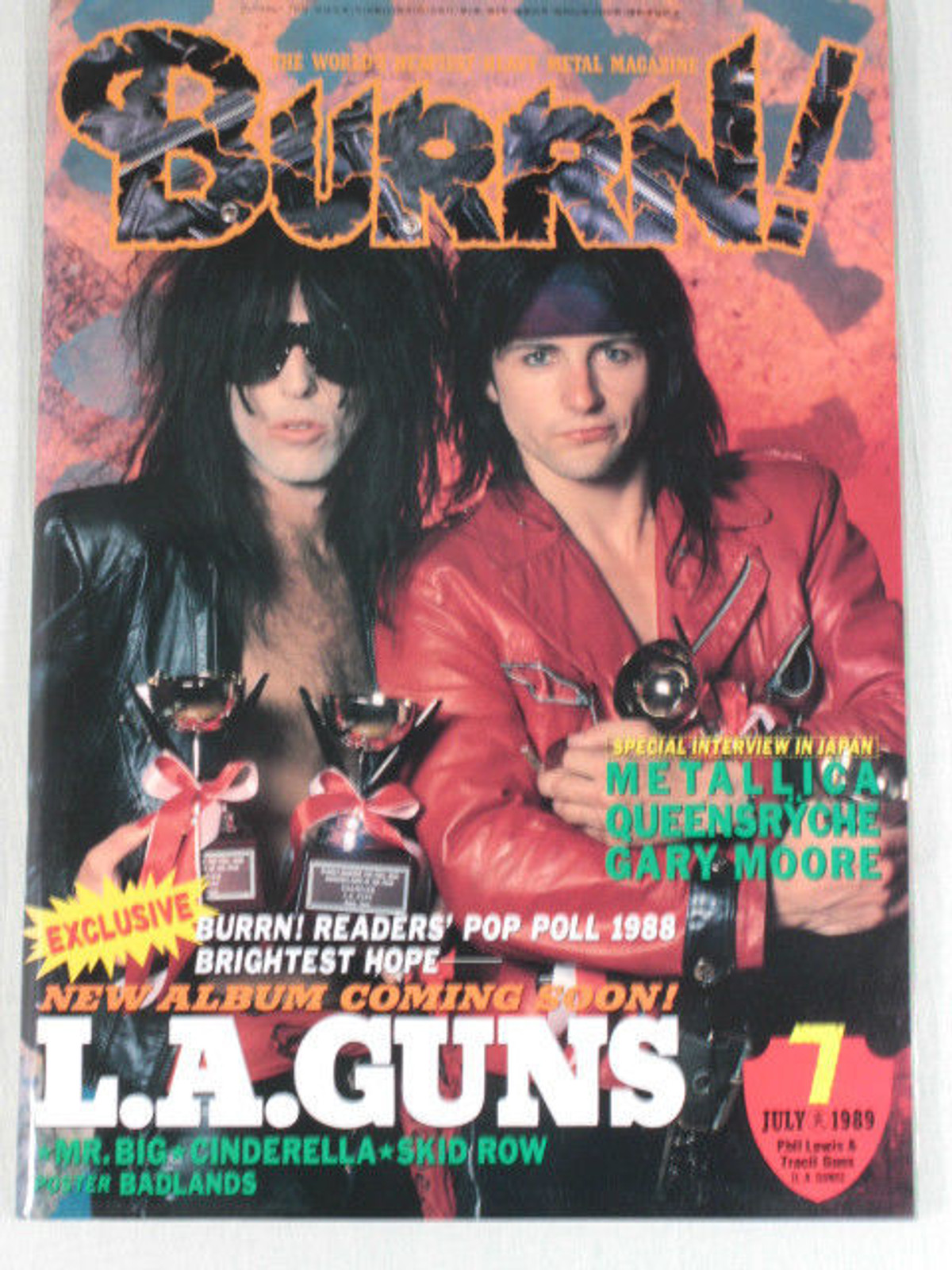 1989/07 BURRN! Japan Rock Magazine L.A.GUNS/MR.BIG/SKID ROW/BADLANDS
