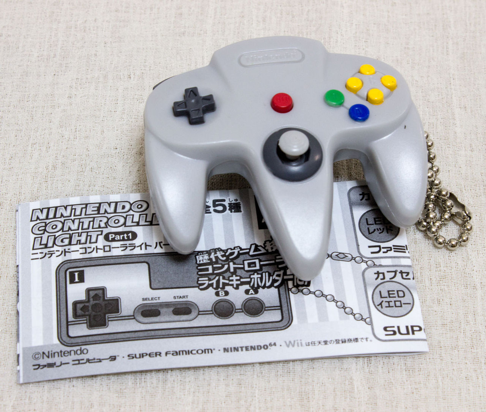 Nintendo Game Controller LED Light Figure Key Chain Nintendo 64 JAPAN GAME