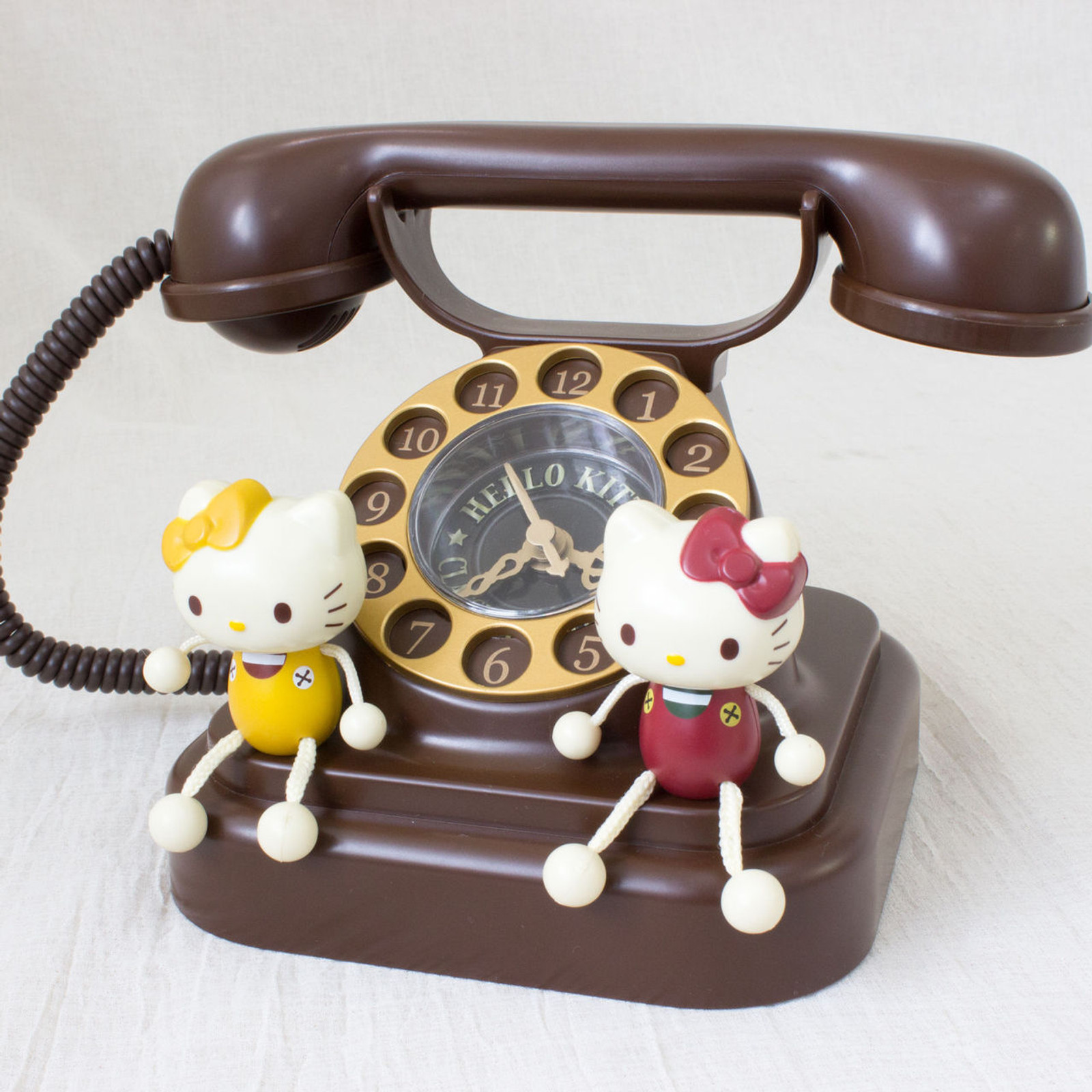 Hello Kitty Old Telephone type Figure Clock JAPAN ANIME SANRIO