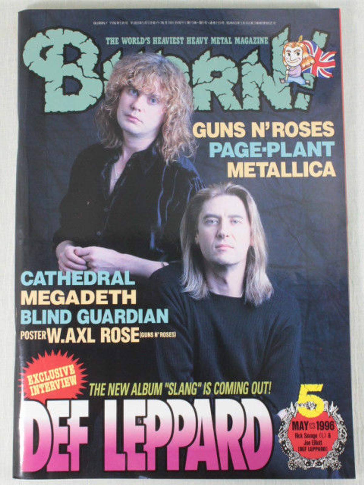 1996/05 BURRN! Japan Rock Magazine DEF LEPPARD/BLIND GUARDIAN/JIMMY PAGE/SLASH