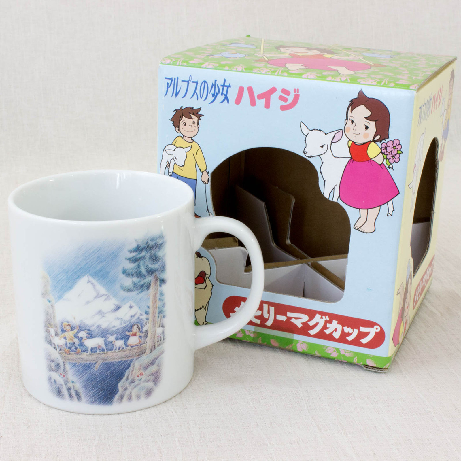 Heidi Girl of the Alps Memory MUG Heidi & Peter & Goats JAPAN ANIME