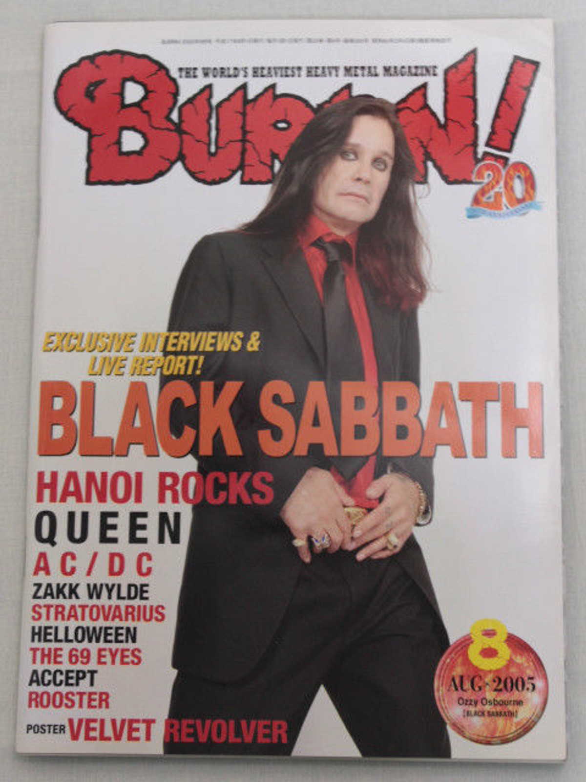 2005/08 BURRN! Japan Magazine BLACK SABBATH/ACCEPT/HAMMER FALL/HANOI ROCKS/AC/DC
