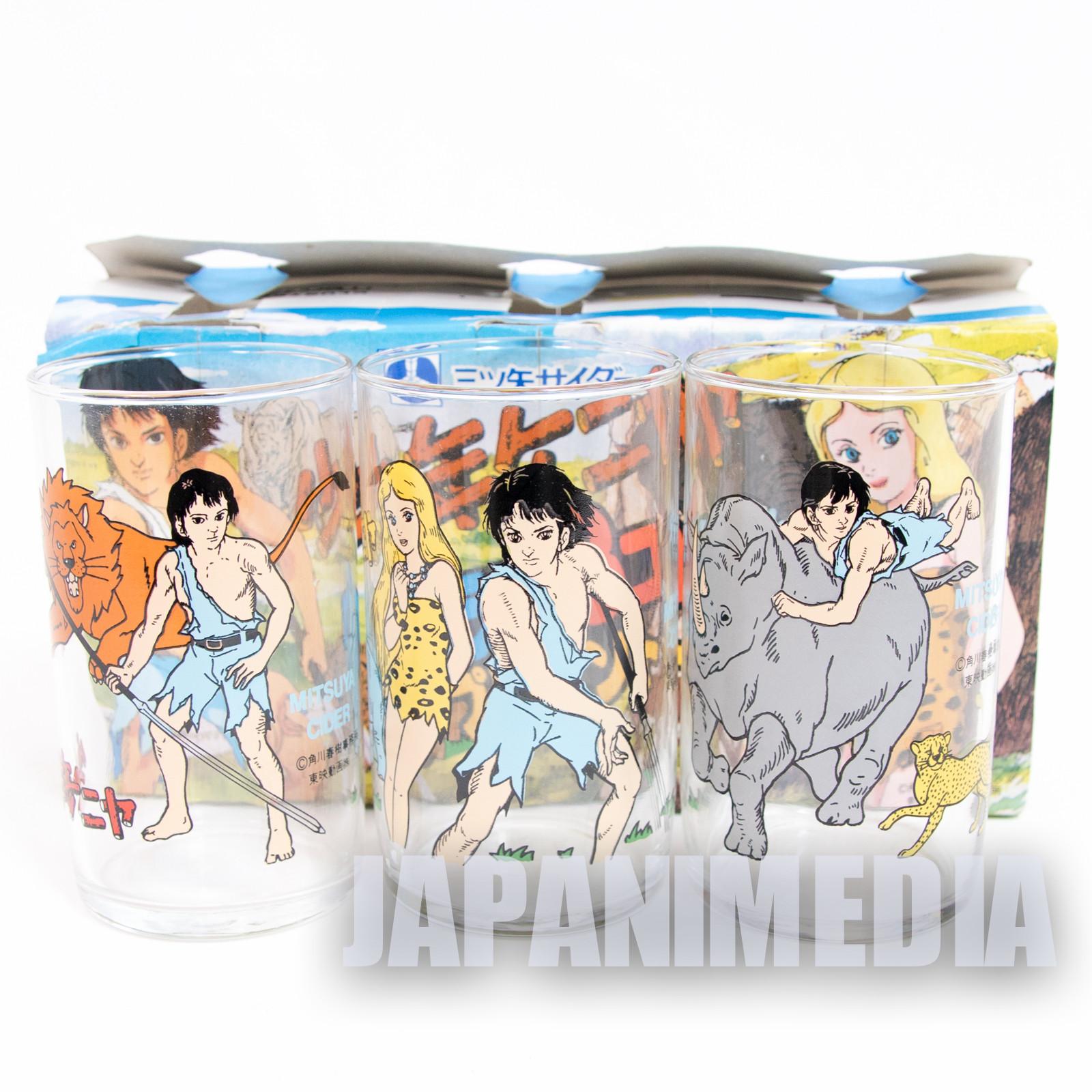 RARE! Shonen Keniya Kenya Jungle Boy Glass 3pc Set JAPAN ANIME MANGA