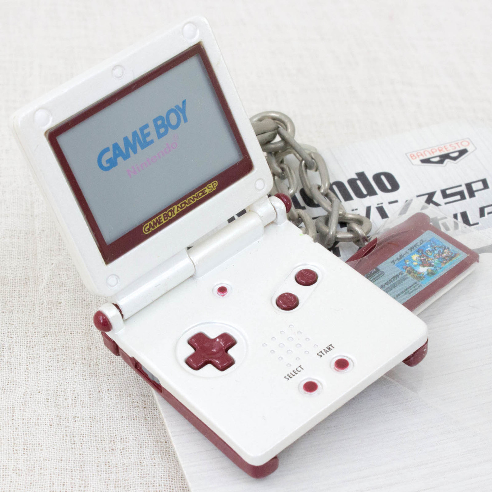Nintendo Game Miniature Figure Key Chain Game Boy Advance SP & Super Mario Bros