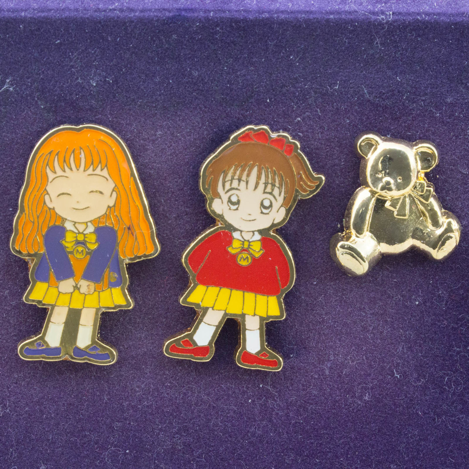 Retro RARE! Marmalade Boy Miki & Meiko Pins 3pc Set BANDAI 1994 JAPAN ANIME