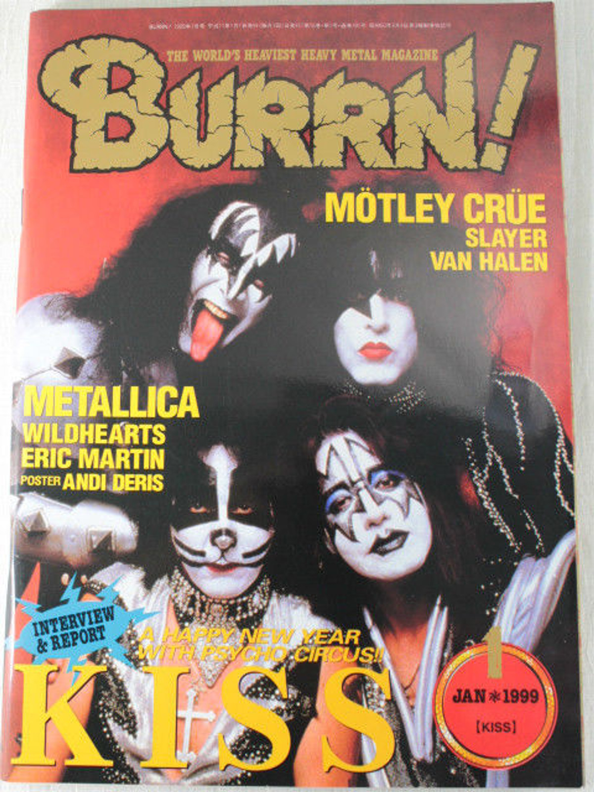 1999/01 BURRN! Japan Rock Magazine KISS/MOTLEY CLUE/WILDHEARTS/ERIC MARTIN/RUSH