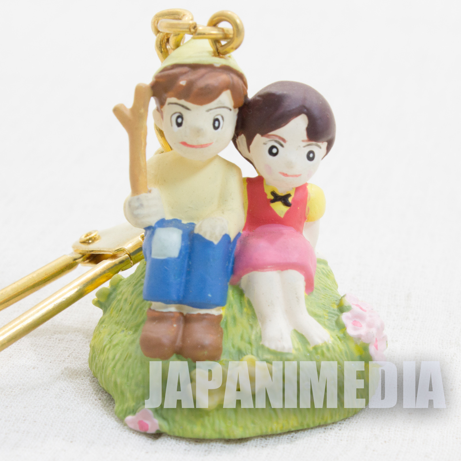 RARE Heidi Girl of the Alps Heidi & Peter Polystone Figure Keychain JAPAN ANIME