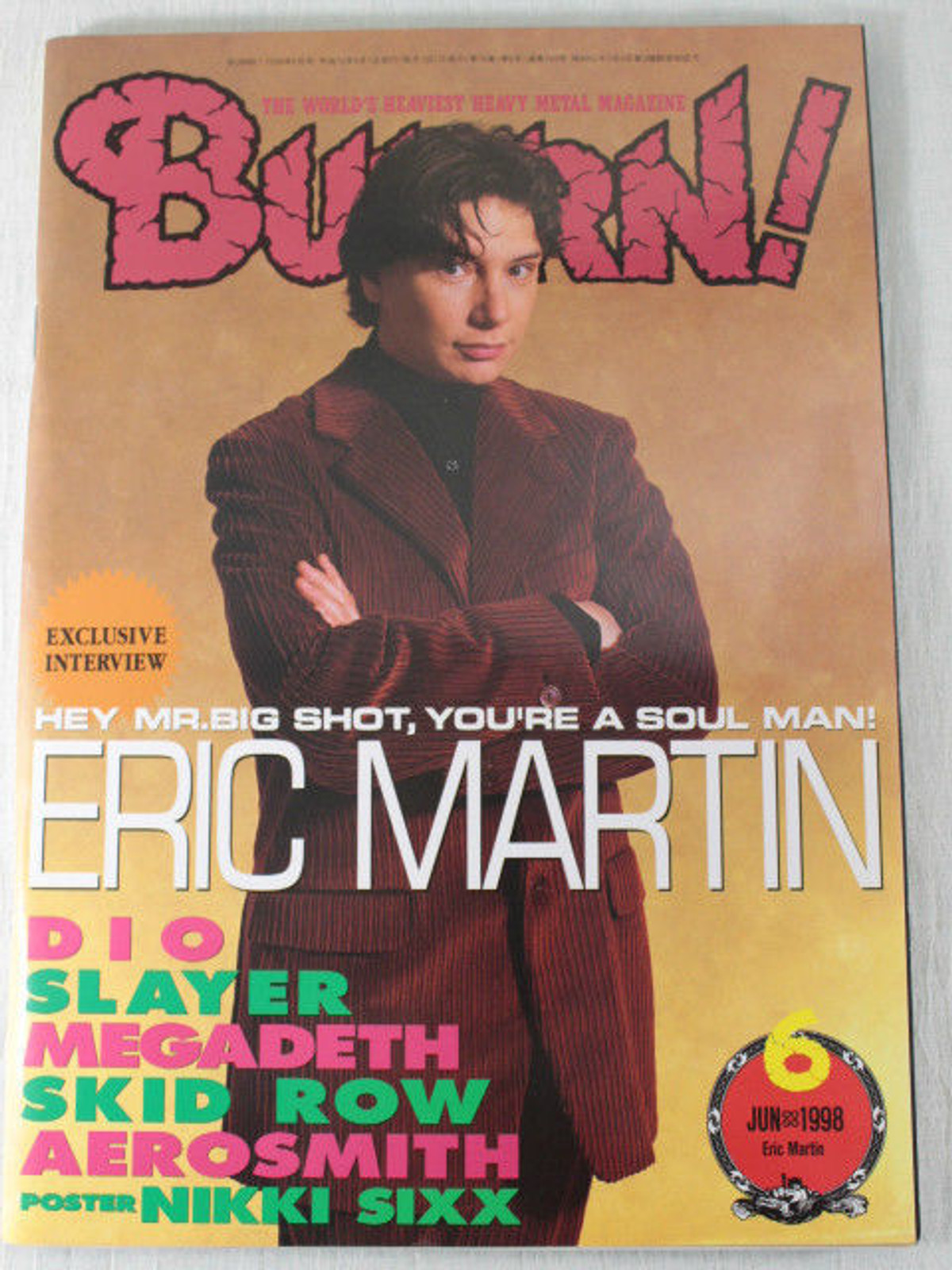 1998/06 BURRN! Japan Rock Magazine ERIC MARTIN/SKID ROW/DIO/SLAYER/AEROSMITH