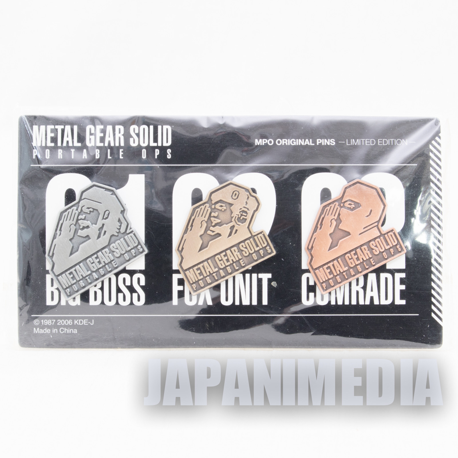 RARE! Metal Gear Solid Portable OPS Original Pins 3pc Set Limited JAPAN KONAMI