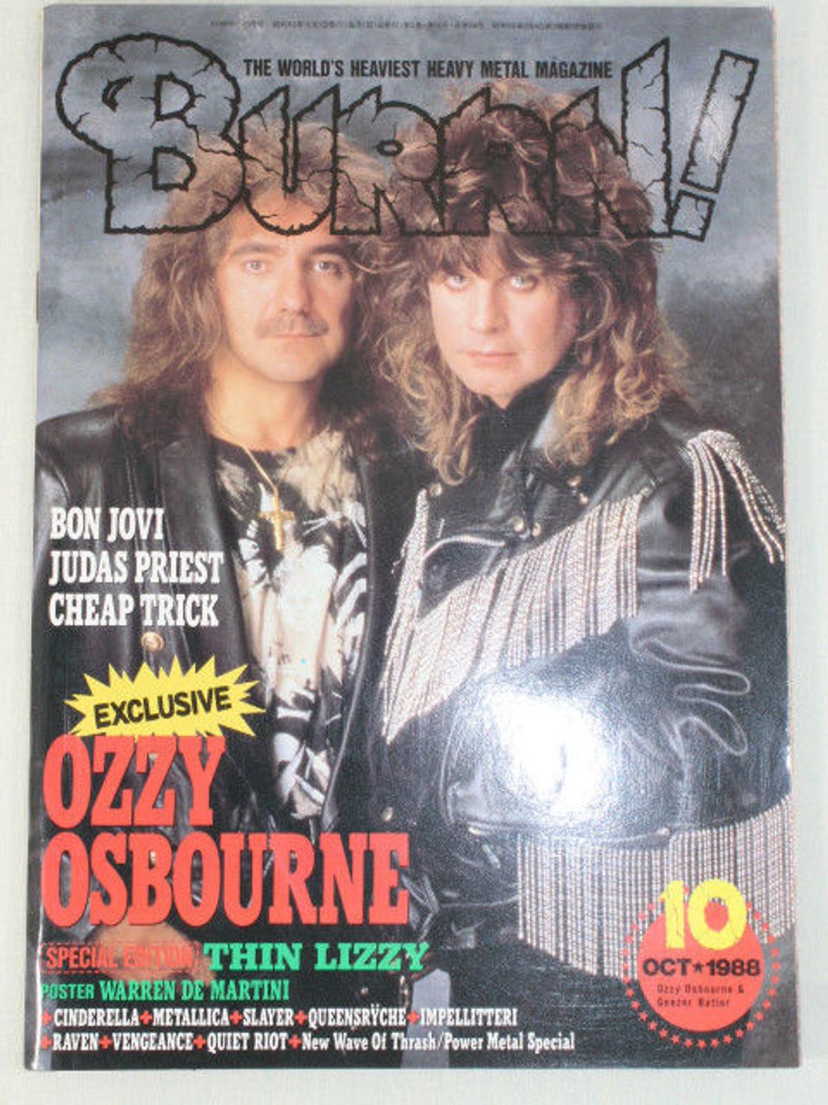 1988/10 BURRN! Japan Rock Magazine OZZY OSBOURNE/BON JOVI/JUDAS PRIEST/RAVEN