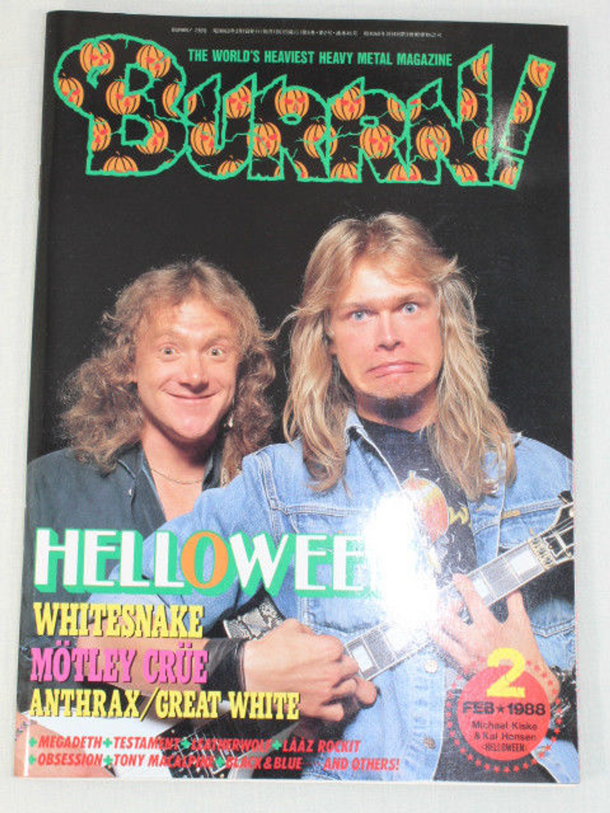 1988/02 BURRN! Japan Rock Magazine HELLOWEEN/GUNS N' ROSES/ANTHRAX/TESTAMENT