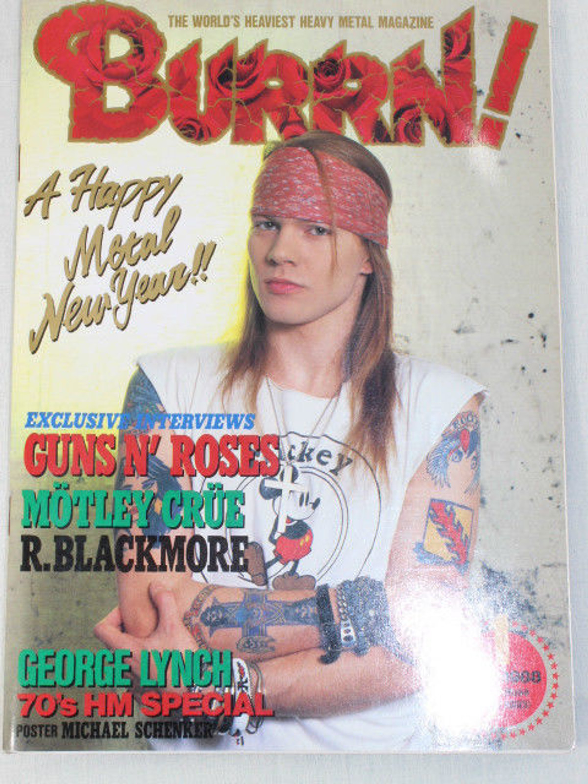 1988/01 BURRN! Japan Rock Magazine GUNS N' ROSES/DOKKEN/AEROSMITH/MOTLEY CLUE
