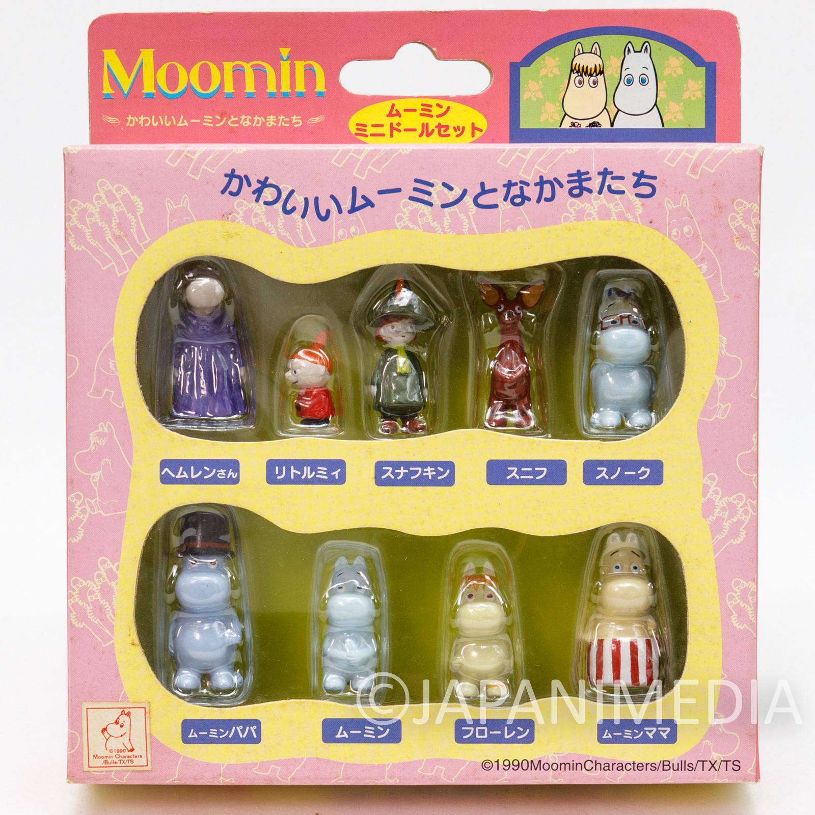 RARE Moomin Characters Miniature Figure Mini Doll 9pc Set Sunlike JAPAN