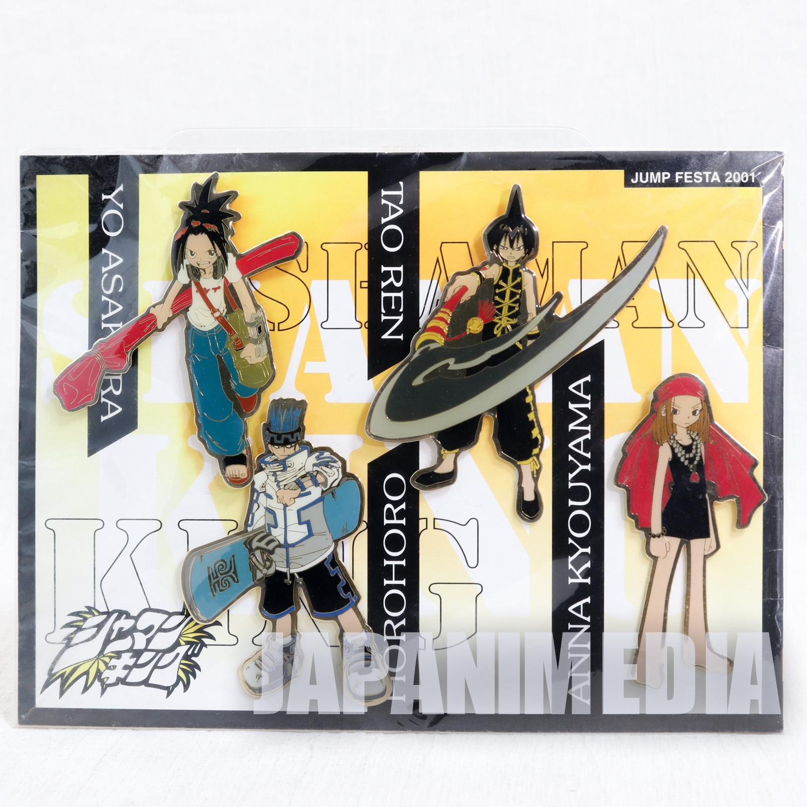 Shaman King Pins 4pc Set Jump Festa 2001 [Yo Asakura,Anna,Tao,Horohoro] JAPAN