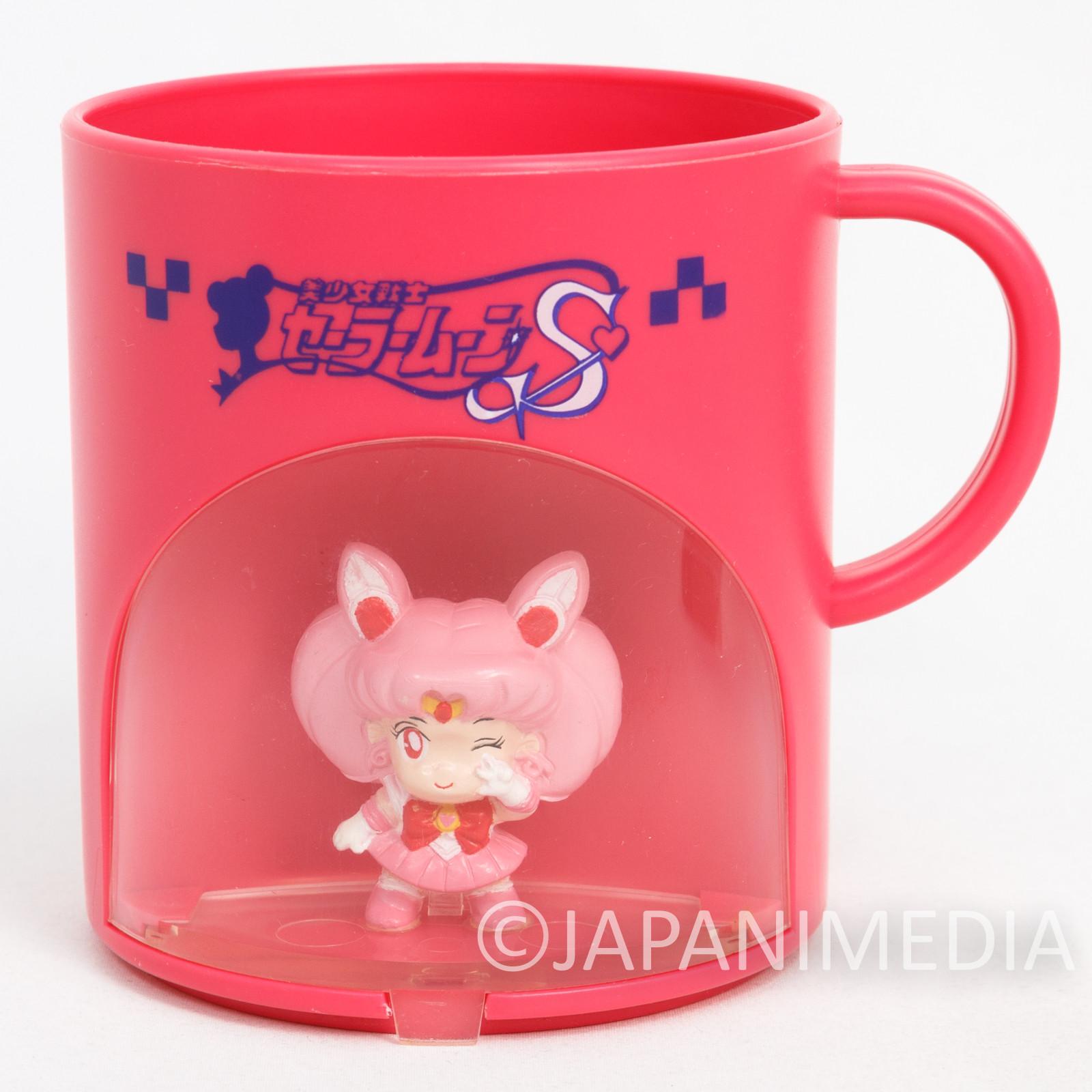 Sailor Moon S Chibi Moon (Chibiusa) Figure in Plastic Mug Banpresto 1994 JAPAN ANIME MANGA