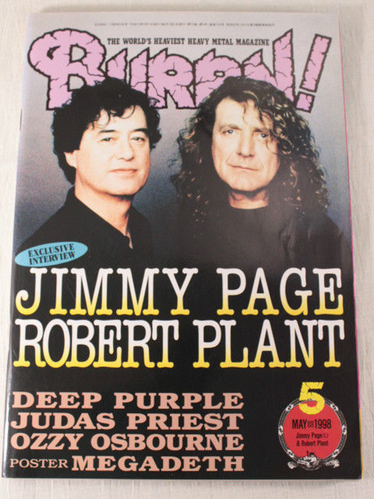 1998/05 BURRN! Japan Rock Magazine JIMMY PAGE ROBERT PLANT/DEEP PURPLE/IN FLAMES