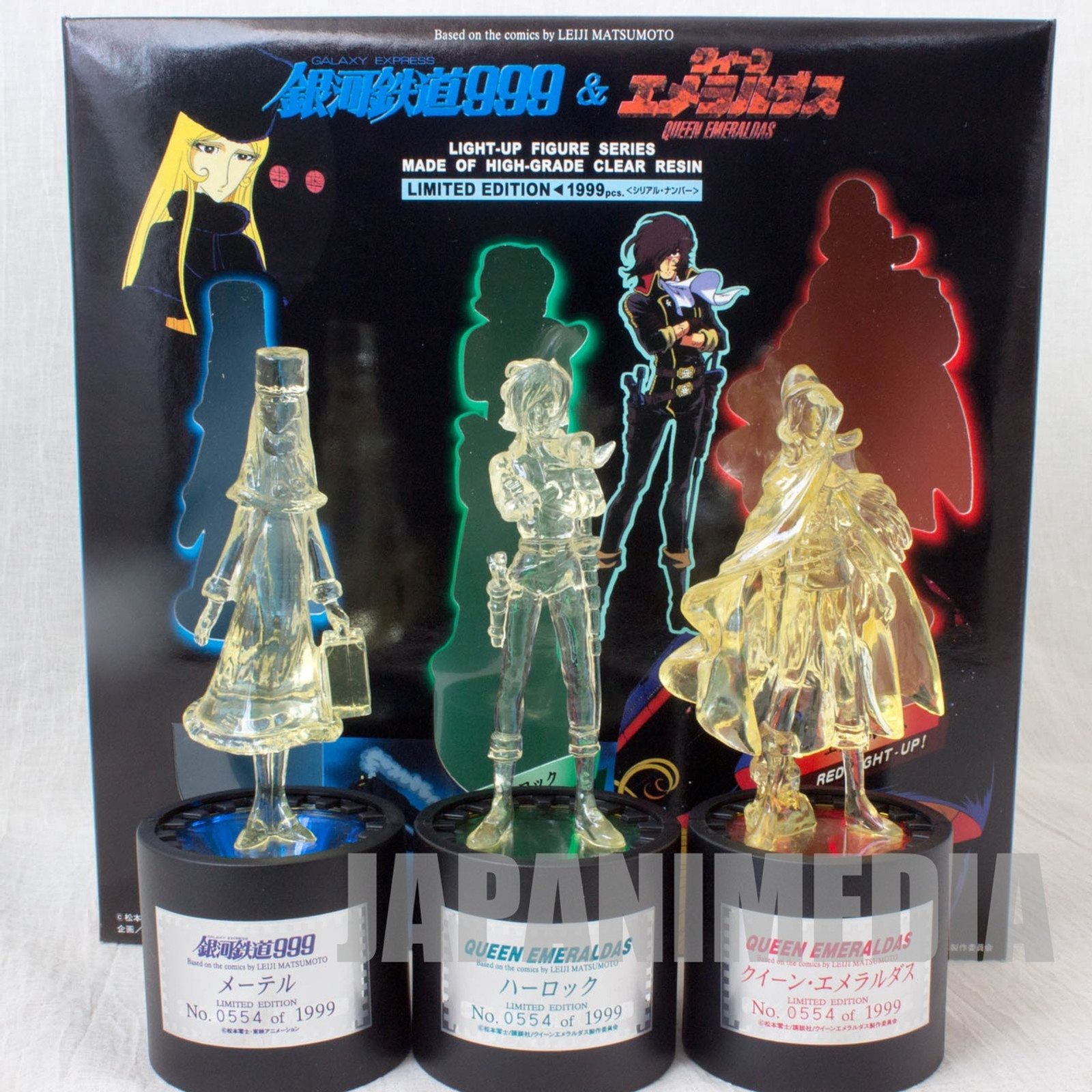 Galaxy Express 999 Maetel & Emeraldas & Harlock Light up Figure 3pc Set Limited