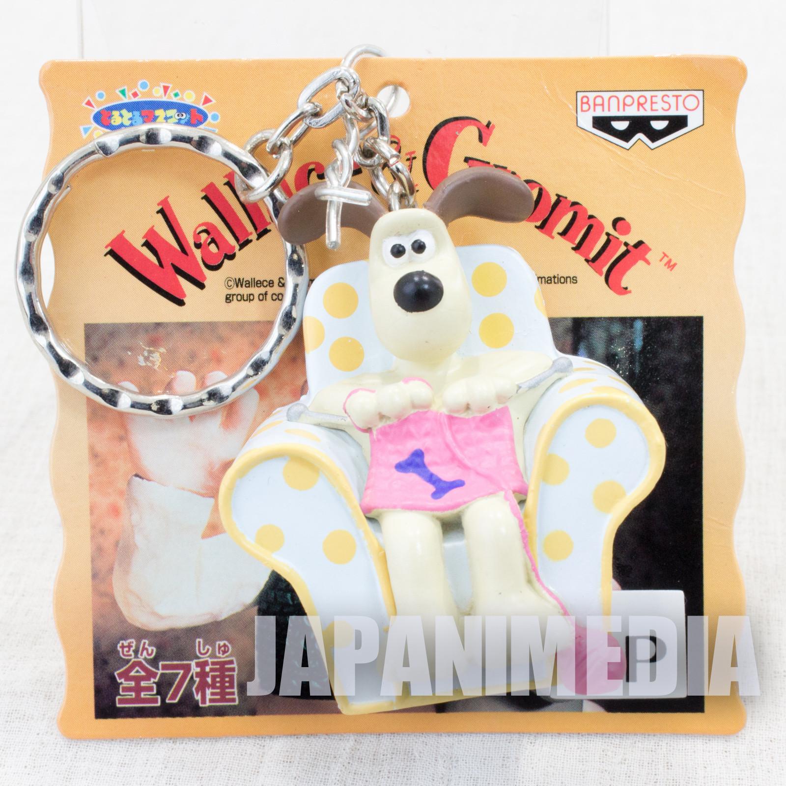Wallace & Gromit Knitting on Sofa Figure Key Chain Banpresto JAPAN Ardman ANIME